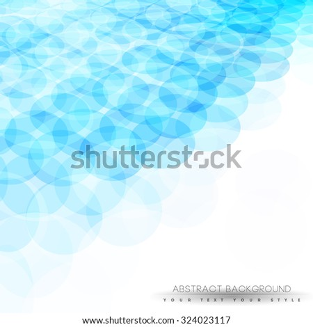 Abstract blue transparent futuristic and perspective background with shiny circles - stock vector