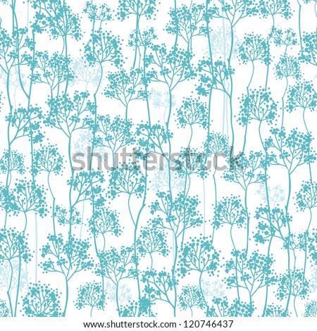 Abstract blue trees seamless pattern background - stock vector