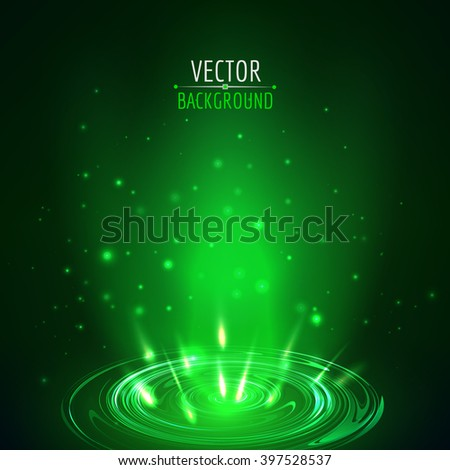 Abstract blue vector background. Green shine light glow. - stock vector
