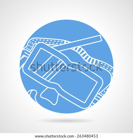 Abstract blue vector icon with flat white line design diving goggles with snorkel on gray background. - stock vector