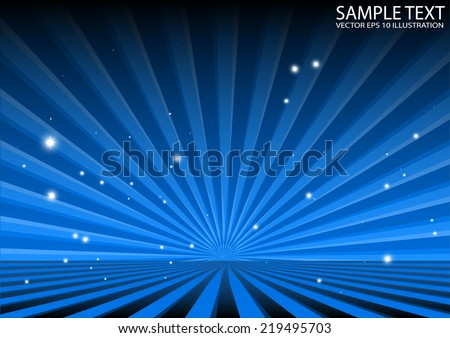 Abstract blue vector space background illustration - Vector blue spreading rays template illustration - stock vector
