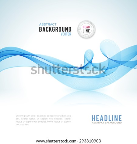 Abstract blue wave isolated on white background. Vector illustration for modern business design. Futuristic wallpaper. Cool element for presentation, card, flyer and brochure. - stock vector