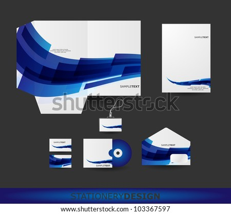 Abstract Blue Wave Stationery design set in vector format - stock vector