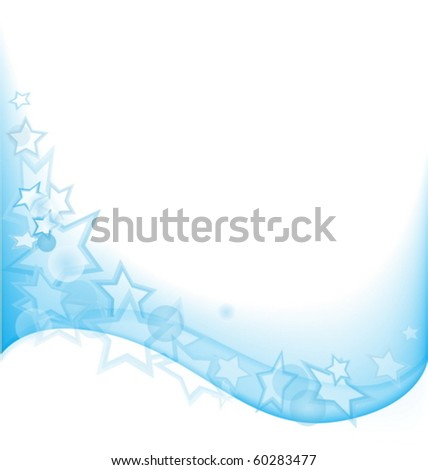 Abstract blue wave with stars, vector illustration - stock vector