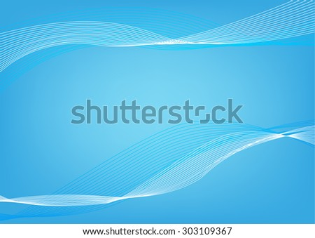 Abstract Blue wavelengths and irregular lines on a lighter background. Editable Clip Art. - stock vector