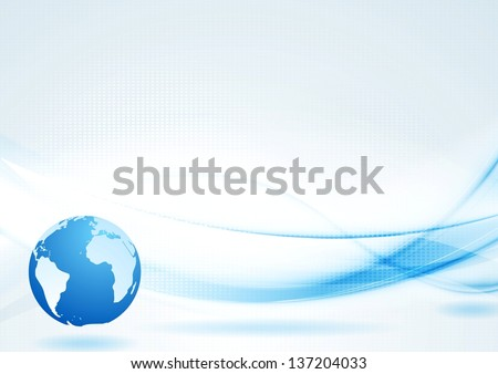 Abstract blue waves with globe. Vector design eps 10 - stock vector