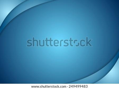 Abstract blue wavy background. Vector design - stock vector