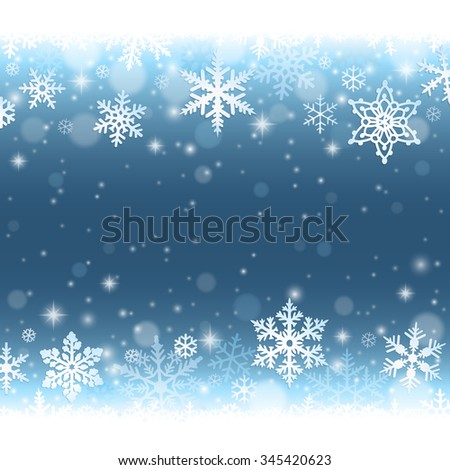 Abstract blue winter background with falling snowflakes and snow - stock vector