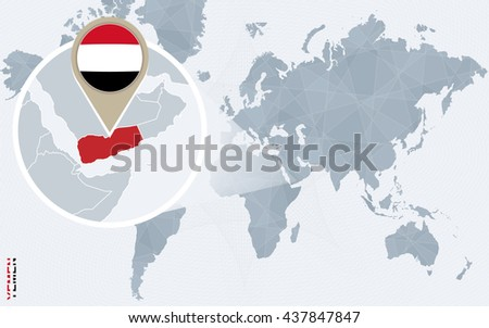 Abstract blue world map with magnified Yemen. Yemen flag and map. Vector Illustration. - stock vector