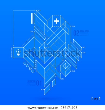 Abstract blueprint with complex geometric element. Useful for presentations. EPS10 vector template - stock vector
