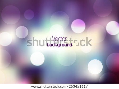Abstract blurred background with color illumination. Purple, blue and pink lights. Shiny cover design template for corporate card, book, booklet, brochure, flyer, poster, banner. Vector illustration - stock vector