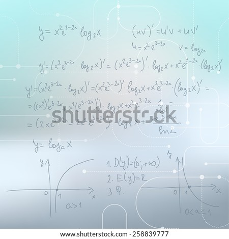 Abstract Blurred Background with mathematical formulas, calculations, graphs, proof and scientific research. - stock vector