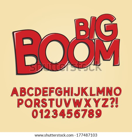Abstract Boom Pop Art Font and Numbers, Eps 10 Vector - stock vector