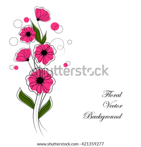 Abstract bouquet of pink flowers with circles. Floral vector background for use in your design. - stock vector