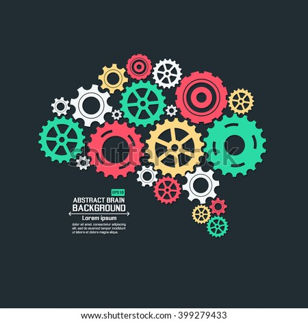 Abstract brain gear - stock vector