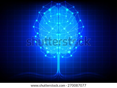 abstract brain network technology on blue backgrond - stock vector