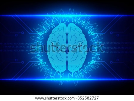 Abstract brain Technology with circuit  background vector illustration - stock vector