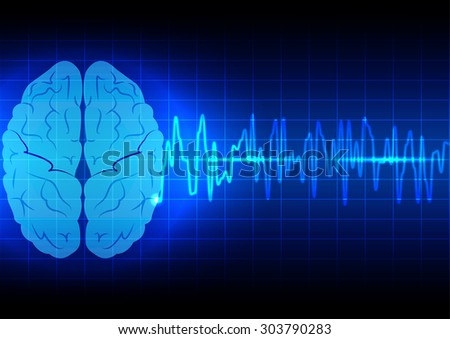 Abstract brain wave concept  on blue background technology - stock vector