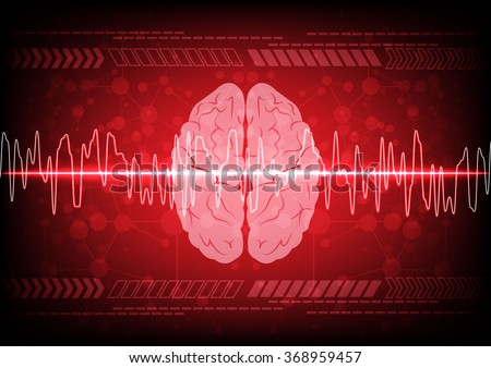 Abstract brain wave concept on blue background technology. illustration vector design - stock vector