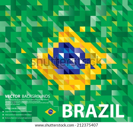 Abstract Brazil Background, Brazilian Flag (Vector Art) - stock vector