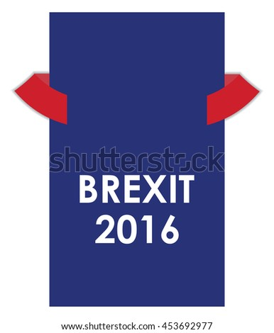abstract brexit 2016 banner with red ribbons - stock vector
