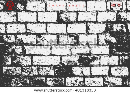 abstract, brick wall surface. vector, street art paper texture. grungy blocks, industrial background design. rough wallpaper with old, distressed bricks pattern, cassette and dj icon - stock vector