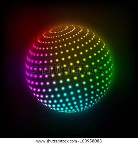 Abstract Bright ball icon on a dark background. Vector illustration. Eps10 - stock vector