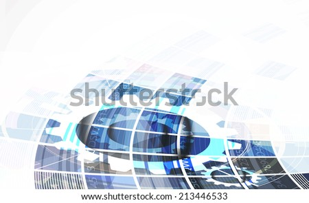 abstract bright blue cube vector technology background. computer solution - stock vector