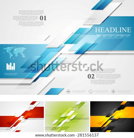 Abstract bright corporate tech background. Four colors, vector card design - stock vector