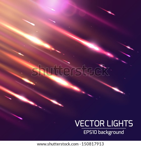 Abstract bright cosmic background with blurred light rays. Vector illustration.  - stock vector