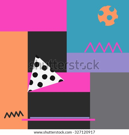 Abstract bright geometric pattern. Colorful poster template pop art style. - stock vector