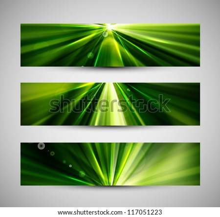 abstract bright rays colorful green header wave set - stock vector