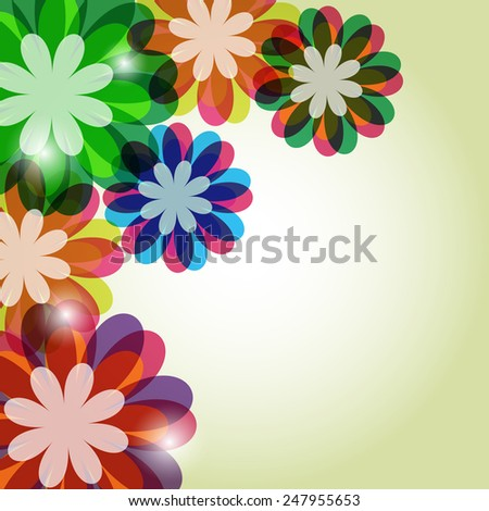 Abstract bright summer background of flowers - stock vector