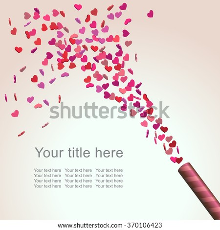 Abstract Bright Valentine's Day Background with colorful heart confetti, vector illustration - stock vector