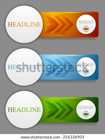 Abstract bright web headers design with arrows. Vector banners - stock vector