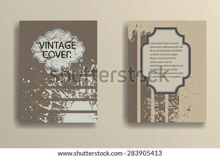 Abstract Brochure Design and Retro Design Elements. Grunge Distressed Texture. Vector Illustration.  - stock vector