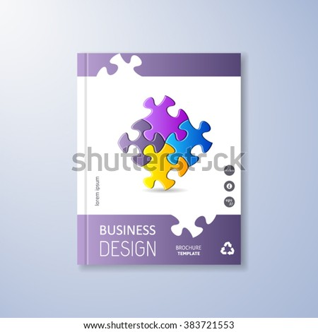 Abstract brochure design template with colorful puzzle pieces - stock vector