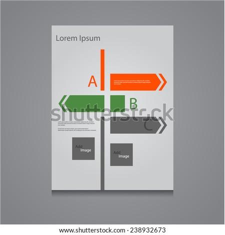 Abstract brochure / flyer design template with directional arrows , Vector eps10. - stock vector