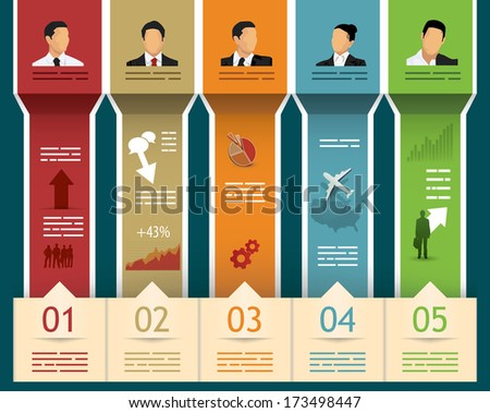 Abstract brochure template with different fields for input and five categories - stock vector