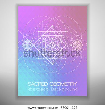 Abstract brochure template with sacred geometry drawing on colorful geometric background, Vector illustration. - stock vector