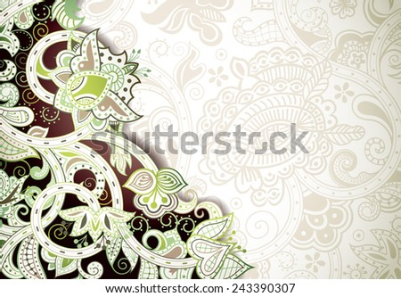 Abstract Brown and Green Floral Background - stock vector