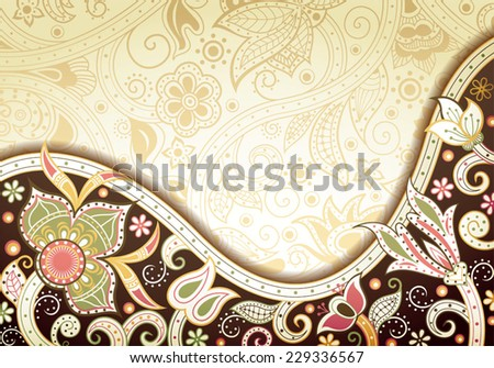 Abstract Brown Floral Background - stock vector