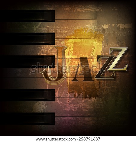 abstract brown grunge music background with word Jazz - stock vector