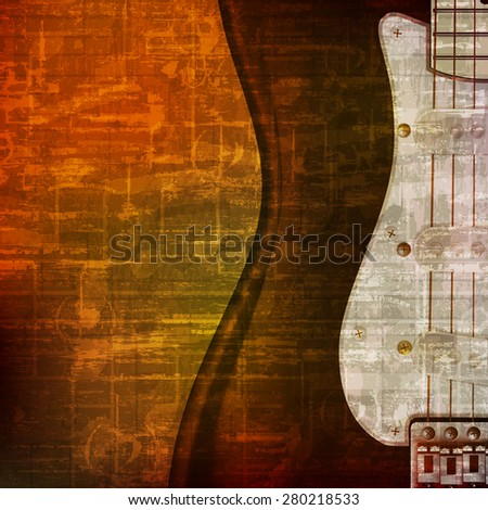 abstract brown grunge vintage sound background with electric guitar - stock vector