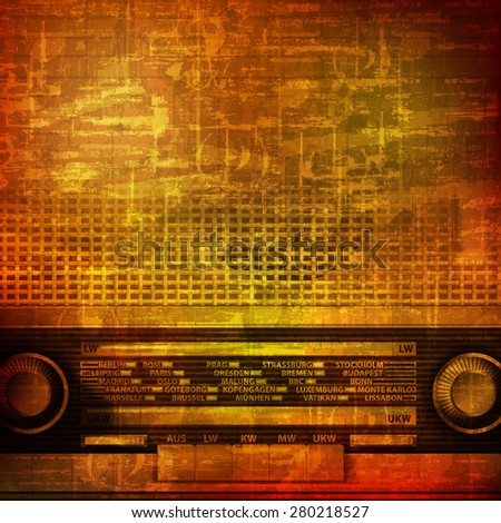 abstract brown grunge vintage sound background with retro radio - stock vector