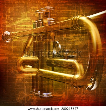abstract brown grunge vintage sound background with trumpet - stock vector