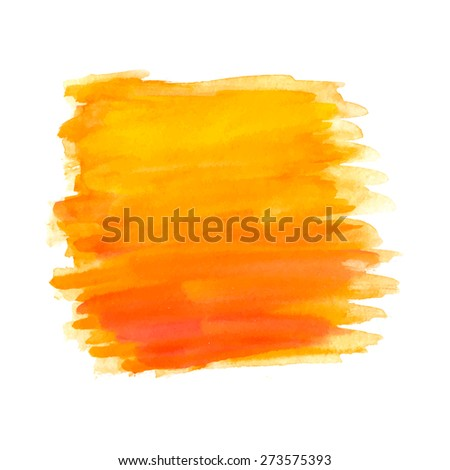 Abstract brush strokes, orange watercolor background, vector - stock vector