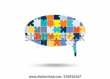 Abstract bubble of puzzle pieces, vector  illustration - stock vector
