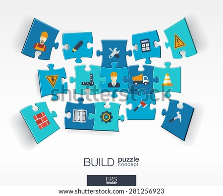 Abstract build background with connected color puzzles, integrated flat icons. 3d infographic concept with industry, Construction, architectural, engineering pieces in perspective. Vector illustration - stock vector