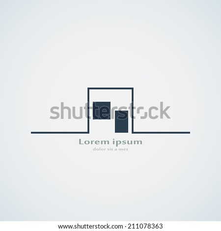 Abstract building silhouette. Real estate house logo design template icon. Modern graphic concept element company style. Art vector illustration home. Stylized contemporary emblem. EPS 10 - stock vector